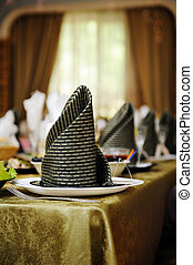 Festive table setting for wedding party