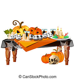 Festive table with burning candles and themed delicacies isolated on white background. Sketch for a poster or card for the holiday of all evil spirits Halloween. Vector cartoon close-up illustration.