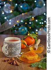 festive tea with cinnamon and honey