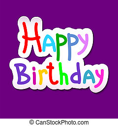Festive texture happy birthday on a purple background. Vector il