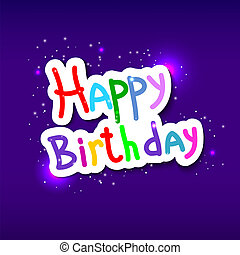 Festive texture happy birthday on blue background. Vector illust