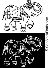 Traditional indian elephant decorated for special occasion black and white background. Vector file available.