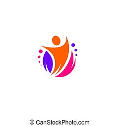 Festive vector dynamic logo. Colorful abstract form with a people, leaf and circles. Cheerful and entertaining illustration with the image of a leader and a happy person.