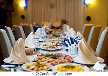 festive wedding table for dinner at the restaurant