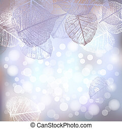 Festive winter background of bokeh lights with frame of hoarfrost leaves