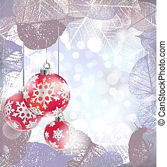Festive winter background with red holiday balls against bokeh lights and frame of hoarfrost leaves