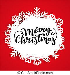 Festive winter card background template. Merry Christmas text