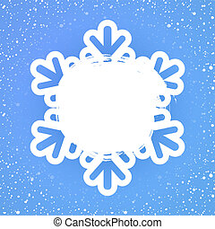 Festive winter card template with snowfall of snowflakes, copyspace and blue background.