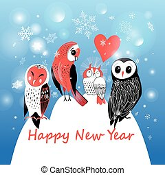 Festive winter postcard with owls