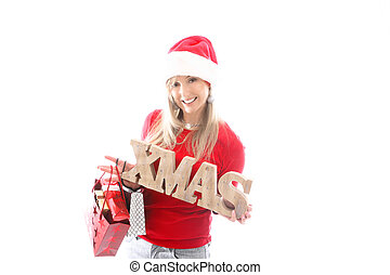 /Festive woman holding a wooden Christmas sign