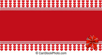 Festive wrapped template with ribbon on striped red hearts background