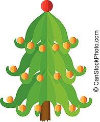 Festive xmas tree icon, flat style