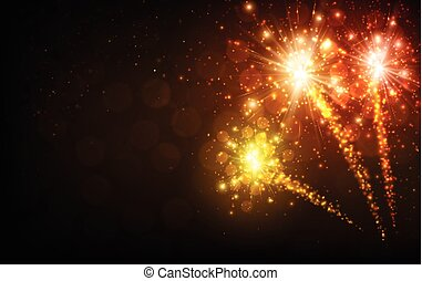 Festive yellow firework background.