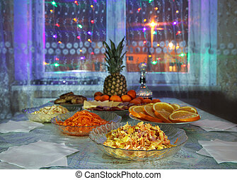 festively laid table at night
