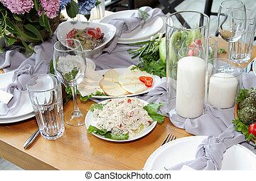 festively, set, wedding., tavola