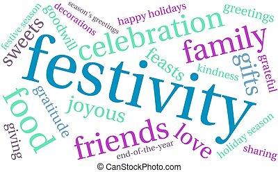festividad, nube, palabra
