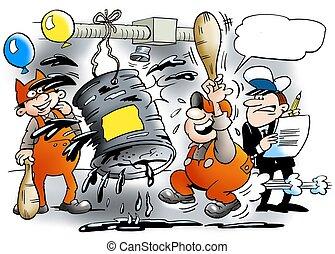 Festivities at the mechanic workshop