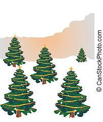 festivo, árboles, para, feliz navidad, y, feliz, holidays....