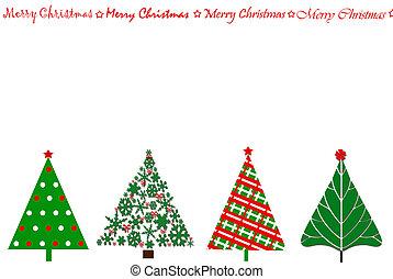 festivo, albero, disegno, scheda natale, fila