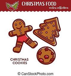 festivo, alimento, biscoitos, natal, culinário, lanche, gingerbread, ou