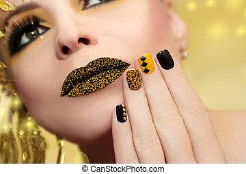 festivo, amarillo, negro, manicura, y, maquillaje, .