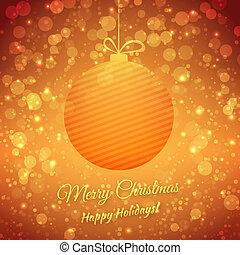 festivo, augurio, sfocato, fondo., holidays., vettore, ball., buon natale, scheda, felice