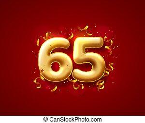 festivo, balões, números, 65th, vetorial, balloons., cerimônia