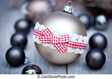 festivo, brilhar, decoração natal, bauble, sazonal