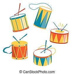 festivo, carnevale, tamburi, isolato, bianco
