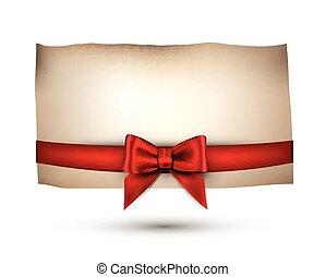festivo, cartão, com, bow.