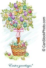 festivo, cartolina, con, uova pasqua, e, cesti
