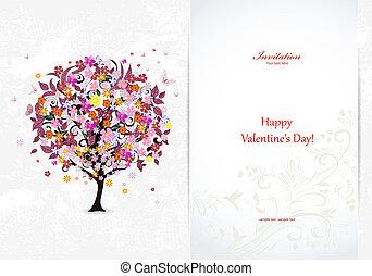 festivo, convite, cartão, com, abstratos, árvore