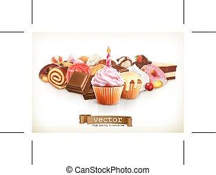 festivo, cupcake, con, candela