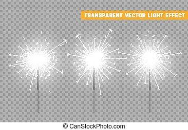 festivo, decorazione, illuminazione, sparkler, natale, element.