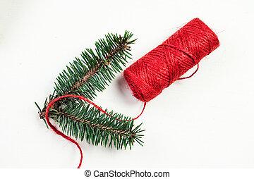 festivo, fita, vista., board., fundo, madeira, configuração, christmas branco, vermelho, decorações, topo, apartamento, feriados