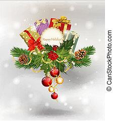 festivo, fondo, albero, coni