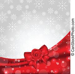 festivo, fondo, con, arco regalo, e, rosa