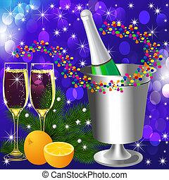 festivo, fondo, con, calice vino, e, arancia