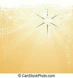 festivo, fondo dorado, con, brillante, estrellas, para,...