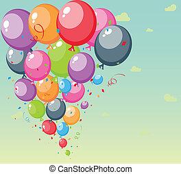 festivo, fundo, balões