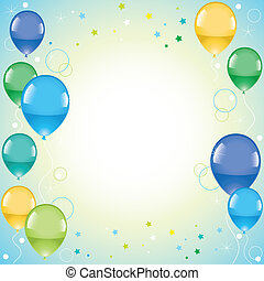 festivo, globos coloridos