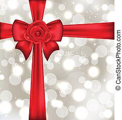festivo, imballaggio, con, arco regalo, e, rosa