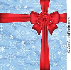 festivo, imballaggio, con, arco regalo, fiocchi neve, struttura