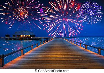 festivo, isola, sopra, fireworks, anno, tropicale, nuovo