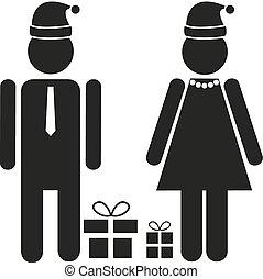 festivo, -, isolato, santa, due figure, femmina, abbigliamento, maschio, cappello