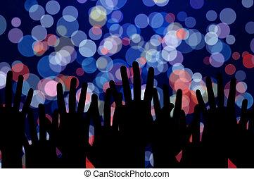 festivo, luces, y, gente, manos, noche, concierto música