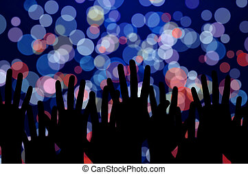 festivo, luci, e, persone, mani, notte, concerto musica