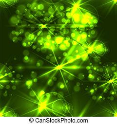 festivo, luci, semless, fondo., luminoso, vettore, verde, pattern:, natale