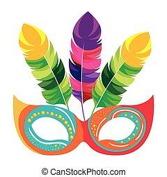 festivo, maschera carnevale, icona, disegno