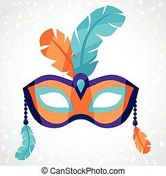 festivo, maschera carnevale, sullo sfondo, di, coriandoli